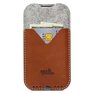"""Pack & Smooch - iPhone 8 Plus / 7 Plus (5.5"""") Case Cover Pochette -KIRKBY- En Feutre De Laine 100 % Mérinos Et Cuir Naturel à Tannage Végétal"""