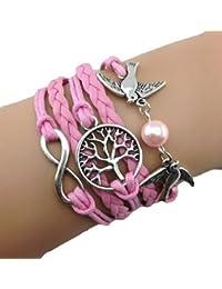 Infinity Bijoux - Pulsera infinito con árbol de la vida, paloma y perla/eternidad/ one direction/ love - rosa / plateado