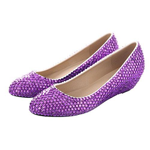 VELCANS Femmes Scintillant Perles et Faux Diamant Robe Plates pour De Mariée, Mariage, Bal de Promo, Soirée et Parti Cales Chaussures Violet