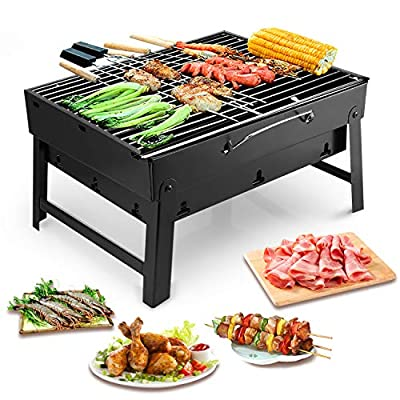 Uten Faltbar BBQ Holzkohlegrill Smoker Grill, Grillwagen Outdoor Tischgrills Ink. Ventilator Grillzange für Garten Camping Party Barbecue