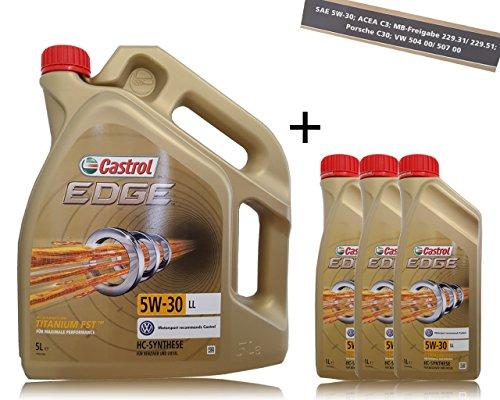 Castrol Edge 5W-30 LL 31791583 Huile de moteur renforcée par Titanium FST™ Set comprenant 3bidons de 1l et 1 bidon de 5l (8l)