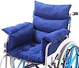 Rollstuhlkissen Rollstuhlkissen mit Rücken- und Seitenteil, Ouding Komfortkissen Sitzkissen für Rollstuhl Bürostuhl Esszimmerstühle Sofa Gartenbank, Anti-Dekubitus, Blau