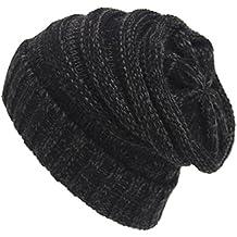 Tongshi Unisex Slouchy Tejer Beanie Hip Hop casquillo caliente del invierno del sombrero del esquí (Gris)