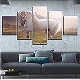 zlxzlx (Nessuna Cornice) Poster Quadri su Tela Modulari Stampa HD 5 Pezzi Animal White Horse Paesaggio DipintiDecor Living Room Wall Art
