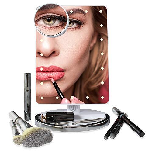 JJ4her Kosmetikspiegel - Schminkspiegel mit Einstellbarer LED Beleuchtung - Hochwertiger Standspiegel mit extra Ablage - inklusive 10-Fach Vergrößerungsspiegel - Tischspiegel I Make up Spiegel (Make-up-spiegel Stehend)