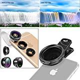 Neewer Kit di Obiettivi a Clip/Filtro ND2-400 per Smartphone:Obiettivo a Effetto Occhio di Pesce/Obiettivo Macro Grandangolare/Supporto di Obiettivo/Filtro Regolabile/Clip