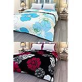 ECraftIndia Set Of 2 Floral Design Single Bed Reversible AC Blanket