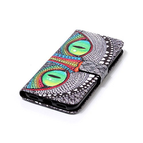 Qiaogle Telefon Case - PU Leder Wallet Schutzhülle Case für Apple iPhone 7 (4.7 Zoll) - YH56 / Paris YH20 / Blau Augen Eule