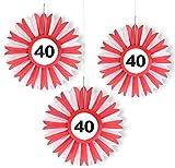 3x Honigwaben Deko * VERKEHRSSCHILD 40 * zum Geburtstag und Party | Verkehrszeichen Dekoration mit Ø 25cm | Alle lieben diese rot-weißen Honeycomb Schilder