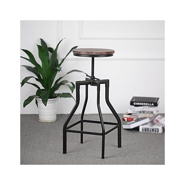 034d61637adacd ... IKAYAA Tabouret de Bar Industriel en Pin et Métal Hauteur Réglable  Chaise de Petit Déjeuner (