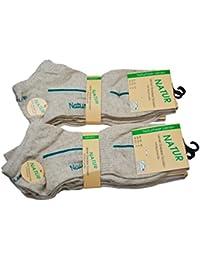 Sneaker Socken aus Leinen - 7 + 1 Ersatzpaar dazu, in schöner Naturfarbe. Trendige Leinensocken aus Naturfaser Leinen und Baumwolle. Geruchshemmend, hygienisch und Venenfreundlich.