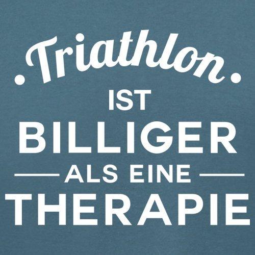 Triathlon ist billiger als eine Therapie - Damen T-Shirt - 14 Farben Indigoblau