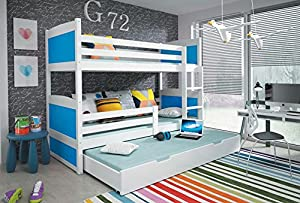 RICO 3 BUNK BED white colour 185x80cm with foam mattress-Free P&P