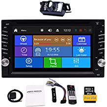 Upgrade Version with Camera!6.2'' Double 2 Din Car DVD CD Video Player Bluetooth GPS Navigation Digital Touch Screen Car Stereo Radio Car PC Support FM AM RDS AUX USB Dual SD Card Slot +Remote Control .