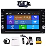 Upgrade-Version mit Kamera! 6.2 '' Double 2 Lärm-Auto-DVD-CD Video-Player Bluetooth GPS Navigation Digital Touch Screen Auto-Stereoradioauto PC Support FM AM RDS AUX USB Dual SD Card Slot + Fernbedienung.
