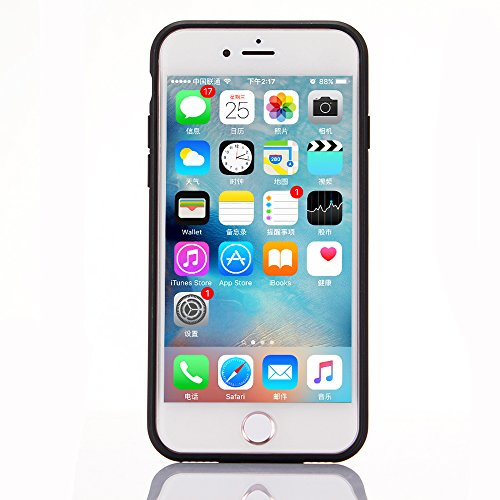"iPhone 6s Hülle, iPhone 6 Schwarze Silikontasche, CLTPY Ultra Hybrid 2 in 1 Plating TPU Schutzfall, Dünne Weben Muster Series Stoßfest Case für 4.7"" Apple iPhone 6/6s + 1 x Stift - Black A Rot C"