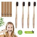 Ealicere 4 PCS Brosse à Dent Bambou, Brosses à dents Poils Imprégnés de Charbon Actif et Recharge,Manche en bambou 100% naturel,Boite en Carton Recyclable ...
