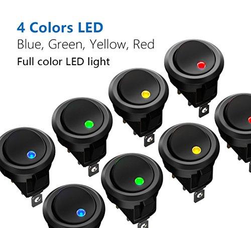 comprare on line MiMoo 8PCS LED illuminato interruttore, DC 12 V 20 A on/off auto aggancio interruttore a levetta SPST interruttore a bilanciere pulsante interruttore rotondo per auto barca elettrodomestici prezzo