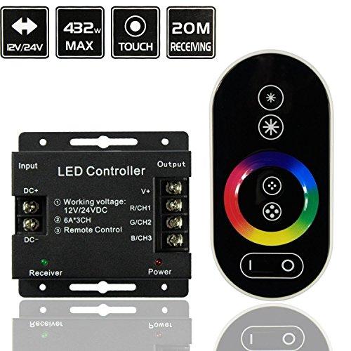 Controlador inalámbrico RF panel táctil a distancia para la luz de tira del RGB LED DC 12V-24V