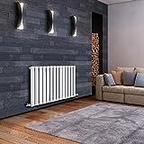 Hudson Reed Serie Revive Radiador Calentador Mural Decorativo Diseño Horizontal - Acero Blanco - 633mm x 826mm - 795 Vatios - Calefacción Central Agua Caliente - Soportes Pared Incluidos