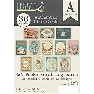 Authentique Paper Legacy Crafting Pad 3-inch x 4-inchAuthentic Life Cards for Pockets, Red, 3 x 4