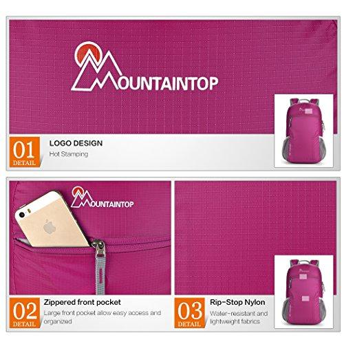 Mountaintop 25L Zaino Pieghevole leggero Packable per i viaggio, il Campeggio, Trekking, Scuola, Sport, Ultraleggero e Pratico porpora