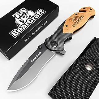 BearCraft Klappmesser in Carbon Design mit **GRATIS eBook** | Outdoor Survival Taschenmesser | Einhand-Rettungsmesser mit Glasbrecher und Gurtschneider