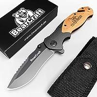 BearCraft Couteau Pliant en Carbone Design avec ** eBook Gratuit * | Couteau de Poche de Survie en Plein air | Couteau de Sauvetage à Une Main avec Briseur de Verre et Coupe-Ceinture