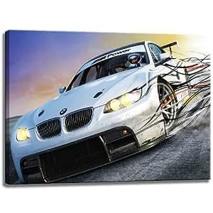 BMW M3 Motive Power sur toile Dimensions: 80 cm x 60 cm . Impression d'art de haute qualité comme une fresque. Moins cher qu'une peinture à l'huile! ATTENTION! Aucune affiche