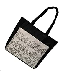Flowertree Polyester Cartoon Cat Family Canvas Tote Bag Black (Black Cats)