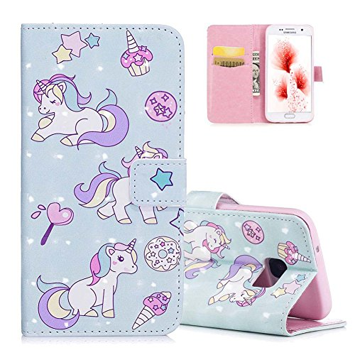 EMAXELERS Galaxy S7 Edge Hülle Cute Lovely 3D Cartoon Unicorn PU Leder Wallet Case Flip Cover im Bookstyle Handytasche Etui Handyhülle für Samsung Galaxy S7 Edge,3D Three Cartoon Unicorn FD