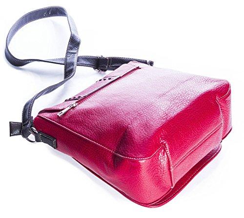 Big Handbag Shop da donna alla moda in finta pelle, bottone-Borsa Messenger Nero (nero)