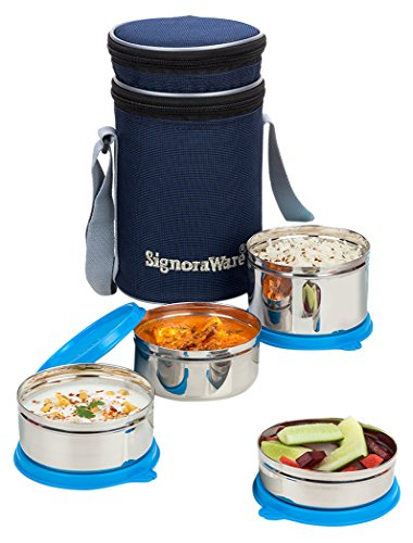 Signoraware Executive Stainless Steel Lunch Box Set, Set of 4, Blue