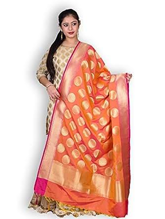 Peach & Pink Banarasi Silk Dupatta with Zari Weave