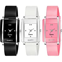 Goldenize fashion Rectangular Dial Analogue Multicolor Dial Rubber Strip Women's & Girl's Watches Combo Pack of 3