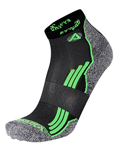 RYWAN No Limit-Socken Running Black/Green Fluo FR: Socken: 39–42(Größe Hersteller: 41–43)