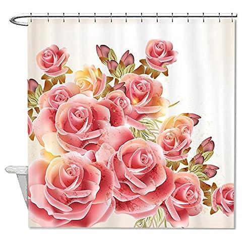 rioengnakg Schimmelresistent Stoff Romantische Rosa Roses Polyester Wasserdicht Duschvorhang, Polyester, #1, 72