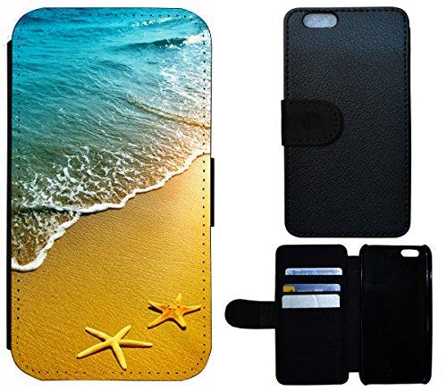 Flip Cover Schutz Hülle Handy Tasche Etui Case für (Apple iPhone 6 / 6s, 1508 Hexe Besen Halloween Mond) 1506 Strand Meer Sonne Urlaub