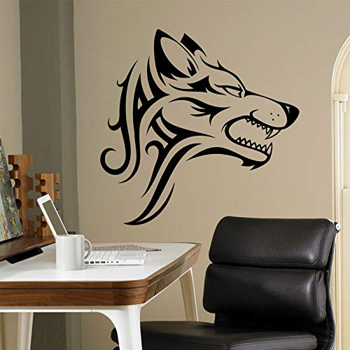 Lupo tribale adesivo bestia animale selvatico adesivo in vinile home decor idee interno wall art ufficio decorazione parete fredda diy 42x41cm