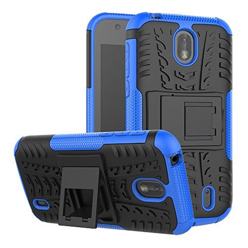 TenYll Nokia 1 Hülle, 2in1 Silikon Rückseite Schutzhülle,Heavy Duty Tough Rugged Shock Proof Case,Mit Halterung Doppeltem Schutz Cover für Nokia 1 -Blau