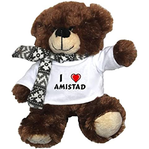 Oso marrón de peluche con Amo Amistad en la camiseta (nombre de pila/apellido/apodo)
