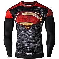 16021 - Maglia T-Shirt Sportiva Manica Lunga Con Stampa Superman