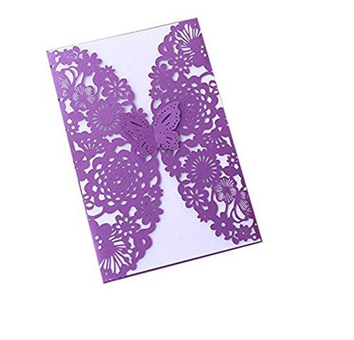 Cdet 50x Blank Kartenhalter Hochzeit EinladungsKarten Glückwunsch Einladung Karten,Elegante Blume Spitze Partyeinladungen für Hochzeit Geburtstag Verlobung Party (Style-6) (Eleganter 50 Geburtstag Einladungen)