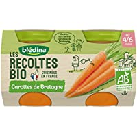Blédina les Récoltes Bio 2 Petits Pots Carottes de Bretagne 260 g -