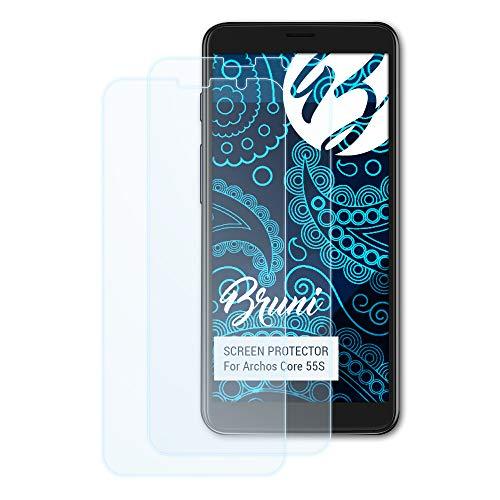 Bruni Schutzfolie für Archos Core 55S Folie, glasklare Displayschutzfolie (2X)