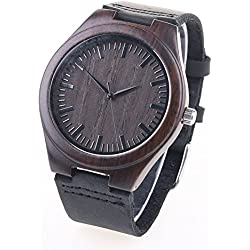 Wooden Bamboo Watch with Genuine Leather Strap Quartz Analog Wrist Watch - Black