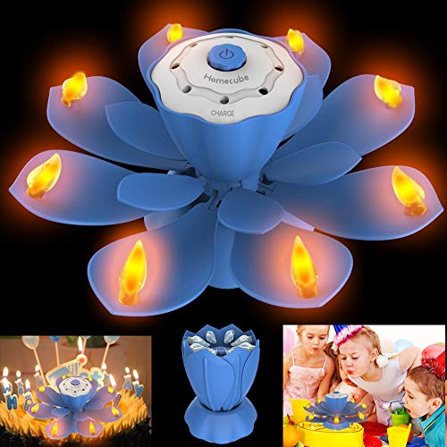 Velas de cumpleaños LED, luz parpadeante sin llama con 3 modos de flash ajustables, velas de torta de Lotus giratorio con SOPLAR diseño para fiesta de cumpleaños, decoración de Navidad (Azul)