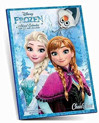 Frozen Schoko-Adventskalender mit 3 kostenlosen Design Karten für Weihnachten - 65 g Schokolade (Baby In Watermelon Kostüm)