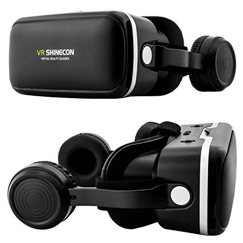 VR Brille Shinecon SC-G04E + Kopfhörer für Virtual Reality + Bluetooth Controller in Schwarz - VR-Box mit Gamepad für Handy, 3D Filme, VR-Movies, VR-Games, 360 Grad Spiele   Kompatibel mit Android & Windows phone - alle 4,7 bis 6 Zoll Smartphones von Samsung Galaxy   Huawei   Sony Xperia   HTC   Google Pixel   LG   Microsoft