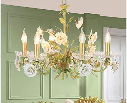 RENZHEN Moderne Rose europäischen kronleuchter Lampe Lustre licht 6l / 8l Garten Rose Blume kronleuchter leuchte e14 Dekoration,2 8 Liter Rose
